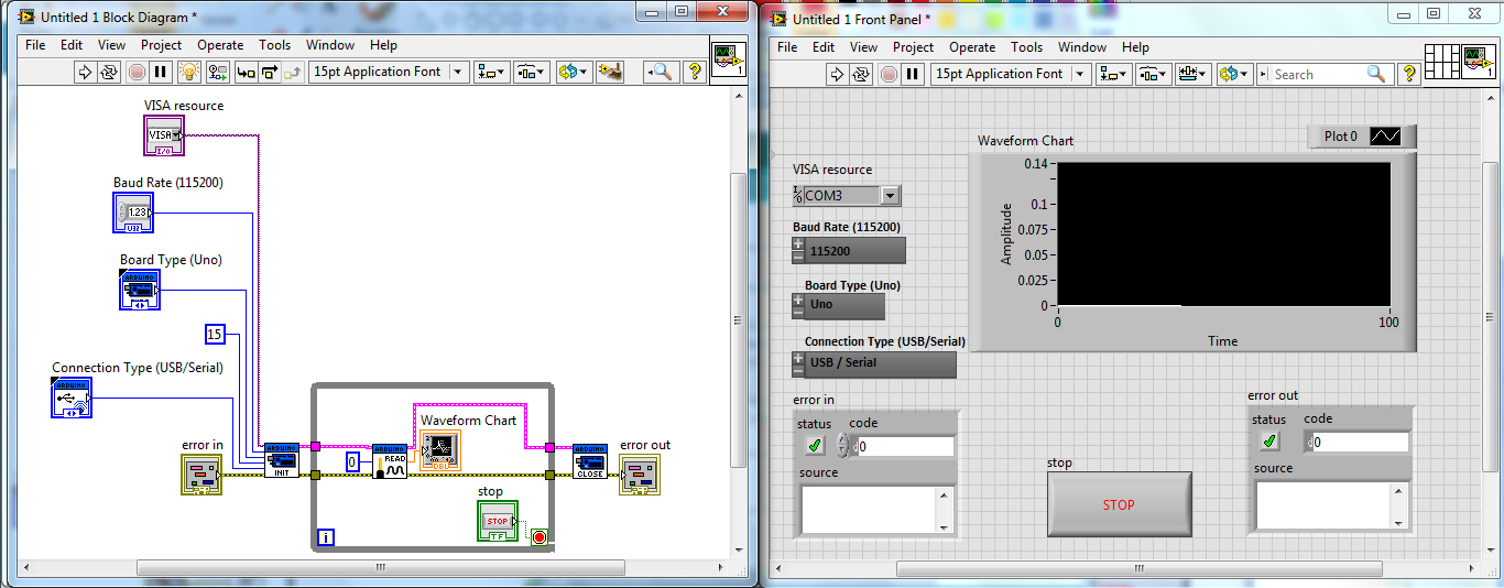 Calling Arduino from LabView: Set up and simple analog read